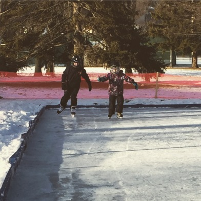 Findley and Bronwyn skating in the park