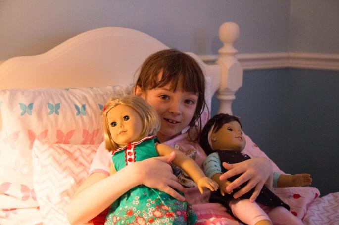 Bronwyn and her American Girl Dolls
